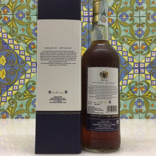 Whisky Amrut 2011 Port Pipe Single Cask 59° 70th Anniversary Velier cl.70
