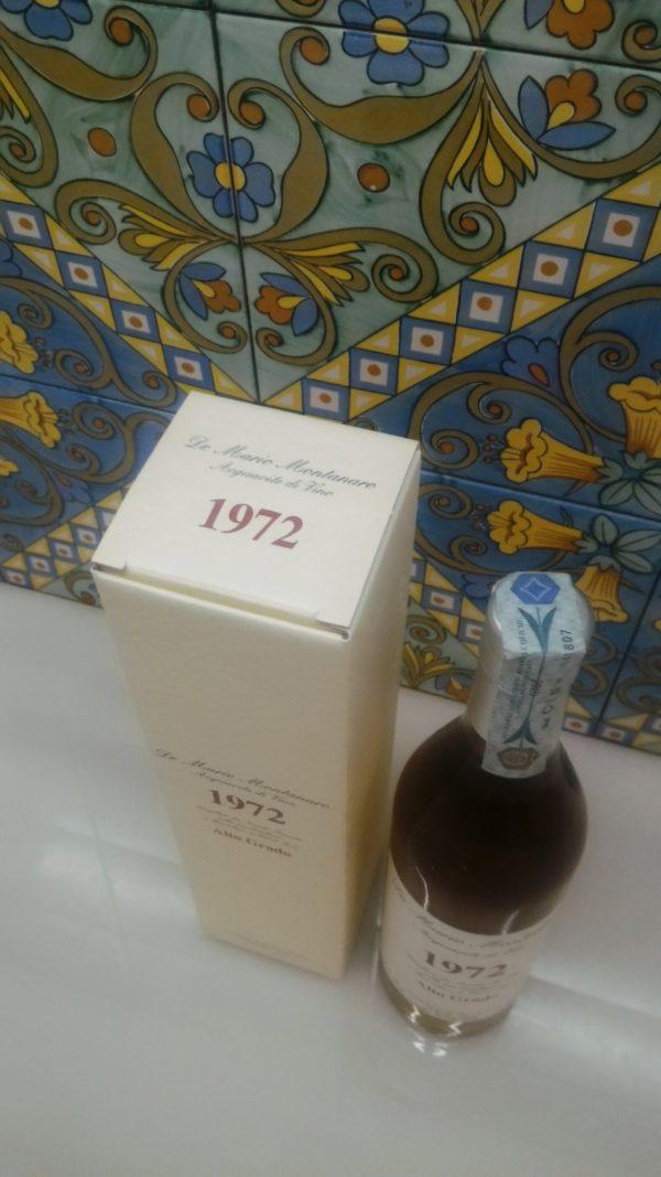 "Acquavite di Vino ""Alto Grado"" 1972 – Dr. Mario Montanaro Vol.52% cl.70"