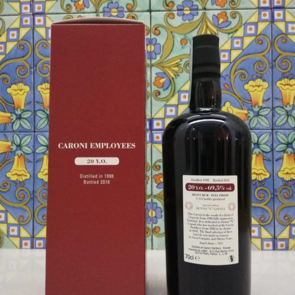"""Rum  Caroni Employees Dennis """"X"""" Gopaul 1998 20Y.O. vol 69,5%  cl 70"""