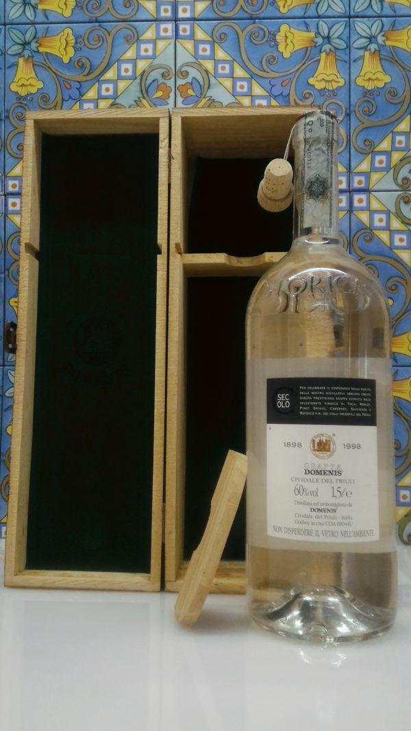 """Grappa Domenis 1898  storica """"Secolo"""" magnum con astuccio in legno- lt.1,5"""