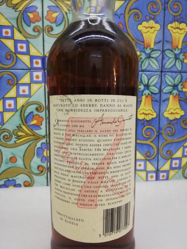 Whisky The Macallan 7 Years Old Giovinetti e Figli – cl 70 vol 40 %
