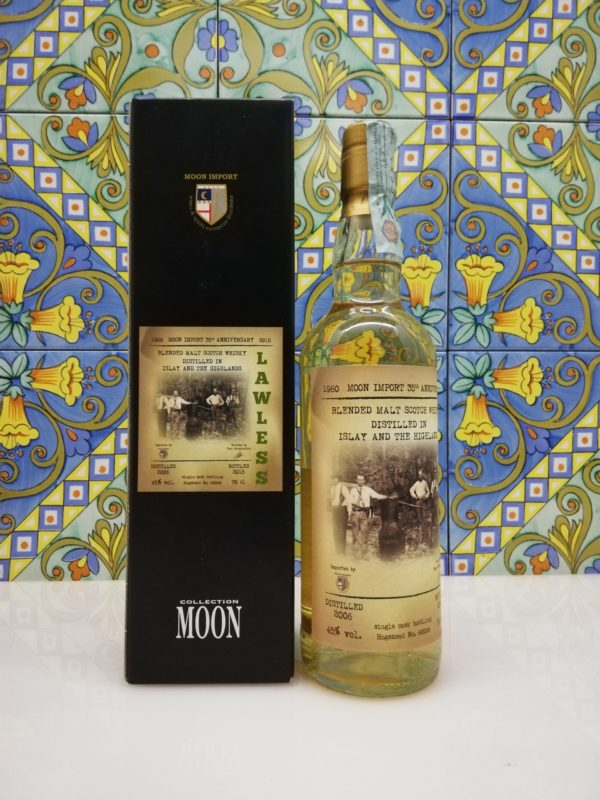 """Whisky Moon Import 35° Anniversary """"Lawless"""" Distilled 2006 -cl 70 vol 45%"""