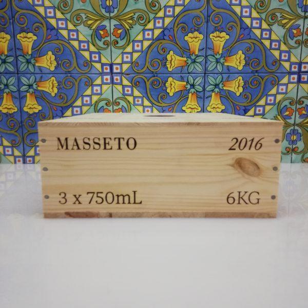 """Toscana IGT """"Masseto"""" 2016 – Tenuta Masseto Cassa in legno sigillata 3 bottiglie 750 ml"""