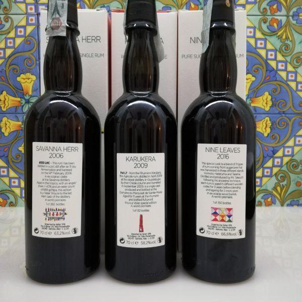 Rum First release Japoniani Velier Savanna Herr 2006 – Karukera 2009 – Nine Leaves 2016