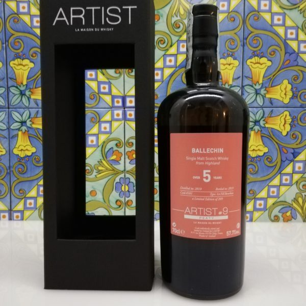 Whisky Ballechin 2010 Artist #9 -5 years old – vol  57,7° cl 70
