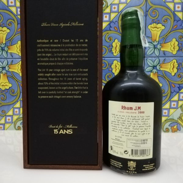 Rum J.M. Agricole Martinique 2000 15 y.o.  Vol.41,9% cl.70 wood box